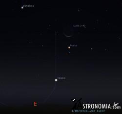 Congiunzione Luna - Venere - Marte, giorno 17 ore 6