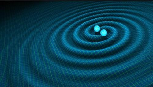 Questa illustrazione mostra due buchi neri prossimi alla fusione, mentre generano onde gravitazionali. A grande distanza da loro, lo spazio-tempo può essere descritto mediante sovrapposizioni di due serie di griglie, raffiguranti le due metriche della struttura della bi-gravità. Crediti: Max, Platscher e Smirnov, sulla base di un'immagine di R. Hurt a Caltech-JPL.