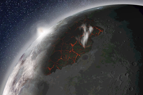Illustrazione della Luna all'epoca delle eruzioni vulcaniche (Credit: NASA MSFC)