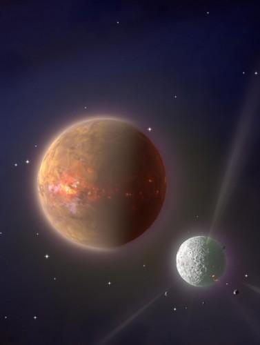 L'immagine illustra la fase avanzata della formazione planetaria (protopianeti) e degassificazione di elementi volatili che ha avuto luogo quando si sono formati i pianeti rocciosi del Sistema solare. Crediti: Ashley Norris, Oxford University
