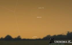 Congiunzione Luna - Venere - Mercurio, giorno 17 ore 7