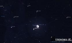 Congiunzione Luna - Pleiadi, giorno 30 ore 20