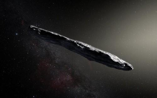 Rappresentazione artistica dell'asteroide interstellare `Oumuamua