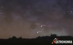 Congiunzione Luna - Saturno - Mercurio, giorno 15 ore 6:15