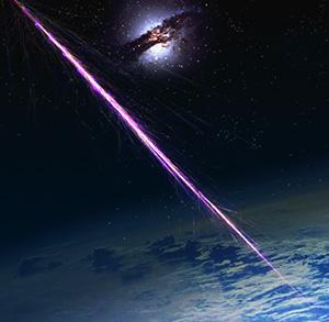 Rappresentazione artistica di raggi cosmici che stanno impattando sull'atmosfera terrestre. Crediti: Pierre Auger Observatory Team