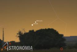 Congiunzione Venere - Mercurio, giorno 5 ore 18:30