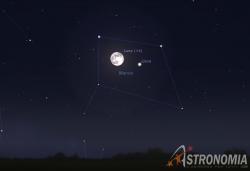 Congiunzione Luna - Giove, giorno 30 ore 22