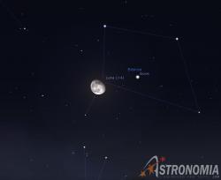 Congiunzione Luna - Giove, giorno 4 ore 00:30