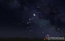 Congiunzione Luna - Saturno - Marte, giorno 7 ore 4