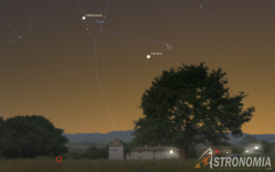 Congiunzione Venere - Pleiadi, giorno 24 ore 20:30