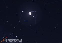 Congiunzione Luna - Giove, giorno 27 ore 22