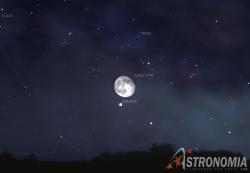 Congiunzione Luna - Saturno, giorno 31 ore 23