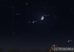 Congiunzione Luna - Giove, giorno 20 ore 23