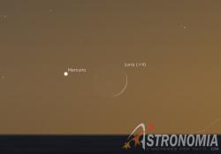 Congiunzione Luna - Mercurio, giorno 14 ore 21:30