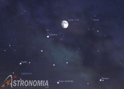 Congiunzione Luna - Saturno, giorno 24 ore 21:30
