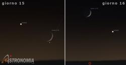 Congiunzione Luna - Venere, giorni 15 e 16 ore 22