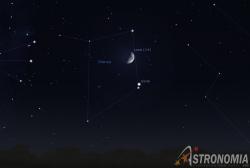 congiunzione Luna - Giove, giorno 17 ore 22