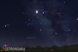 congiunzione Luna - Saturno, giorno 21 ore 21