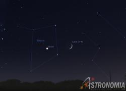 Congiunzione Luna - Giove, giorno 13 ore 20:15