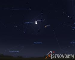 Congiunzione Luna - Marte, giorno 20 ore 20