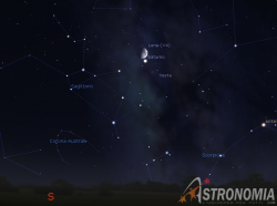 Congiunzione Luna - Saturno, giorno 17 ore 20:30