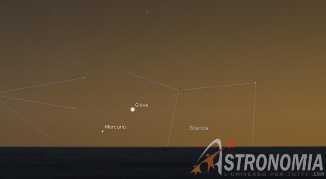 Congiunzione Giove - Mercurio, giorno 30 ore 17:45 - cielo di ottobre