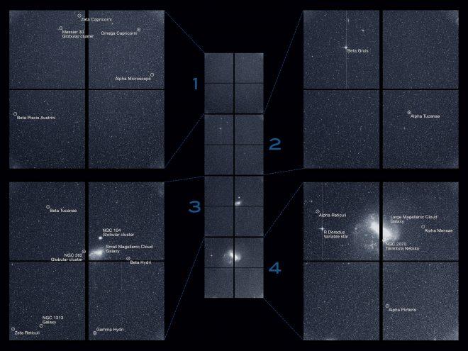Il cielo del Sud visto da TESS.Crediti: NASA / MIT / TESS