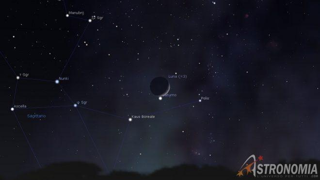 Congiunzione Luna - Saturno, giorno 11 ore 19
