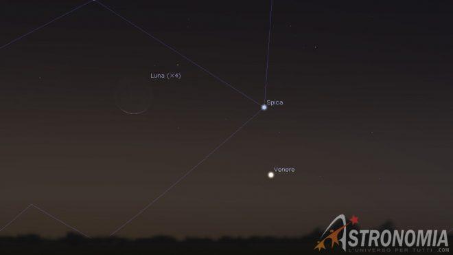 congiunzione Luna - Venere -Spica, giorno 6, ore 6