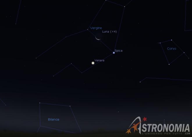 Congiunzione Luna - Venere - Spica, giorno 3 ore 6