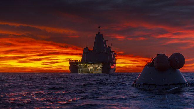 Orion al tramonto. Credit: NASA / Tony Grey