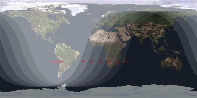 mappa in proiezione di Mercatore della zona di visibilità dell'eclissi di Luna