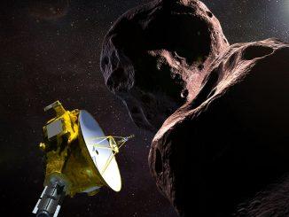 Immagine artistica di New Horizons che incontra Ultima Thule