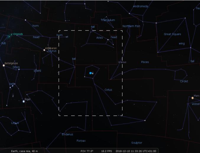 il $campo$ stellare creato con Stellarium