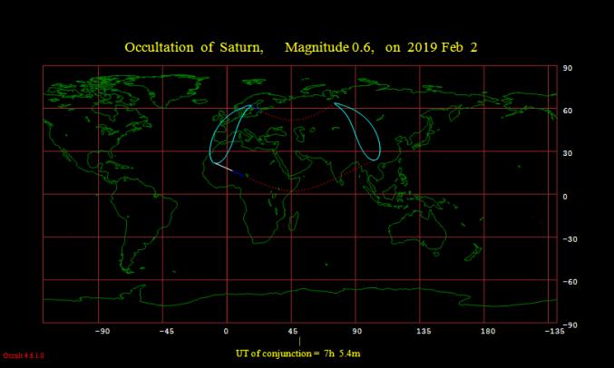 mappa di Mercatore con indicata la zona di visibilità dell'occultazione