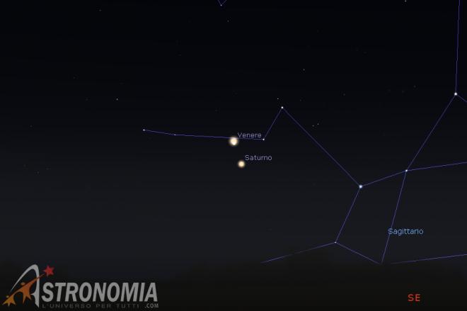 Congiunzione Venere - Saturno, giorno 18 ore 5:30