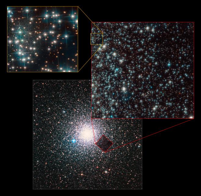 Questa immagine composita mostra la posizione della galassia nana scoperta casualmente