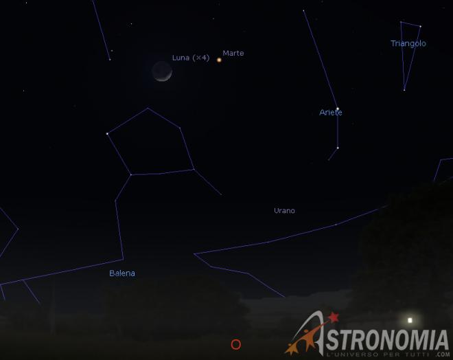 Congiunzione Luna - Marte, giorno 11 ore 20