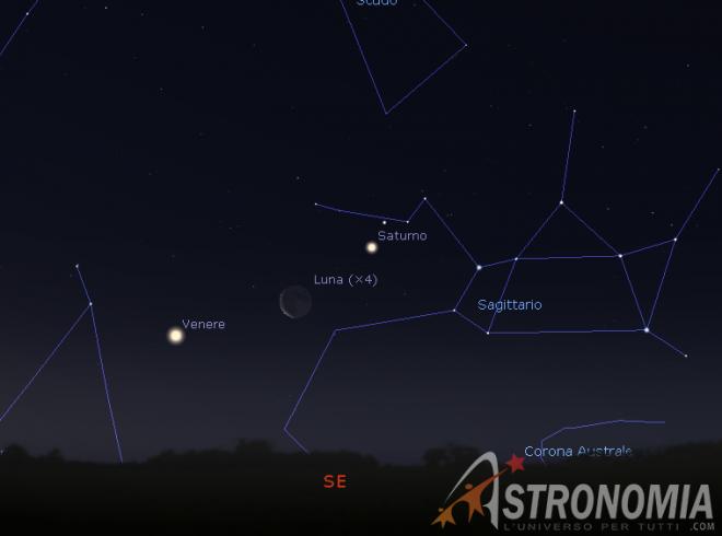Congiunzione Luna - Venere - Saturno, giorno 2 ore 5:30
