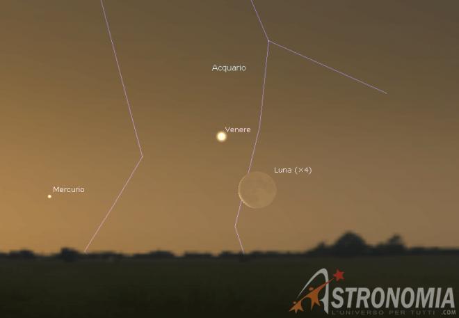 Congiunzione Luna - Venere, giorno 2 ore 6:30