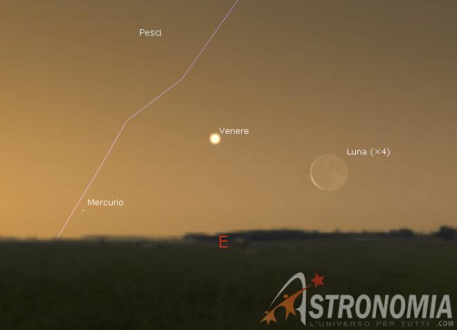 Congiunzione Luna - Venere, giorno 2 ore 5:30
