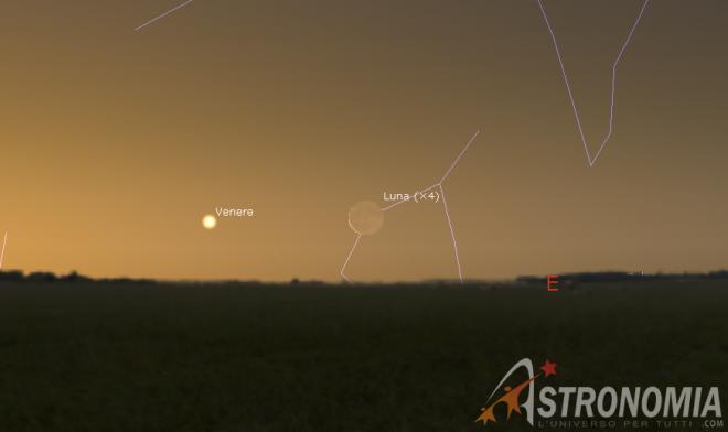 Congiunzione Luna - Venere, giorno 1 ore 5