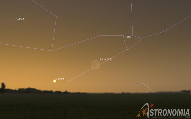 Congiunzione Luna - Venere giorno 1 ore 5