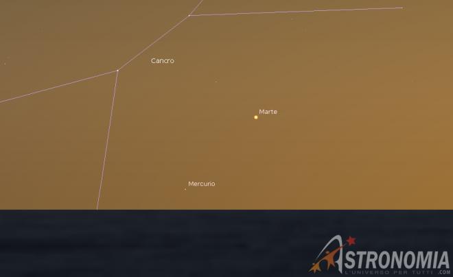 Congiunzione Marte - Mercurio, giorno 7 ore 21:30