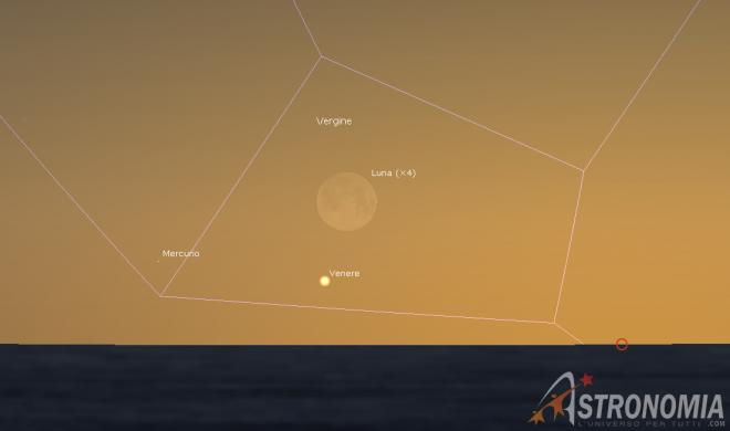 Congiunzione Luna - Venere, giorno 29 ore 19