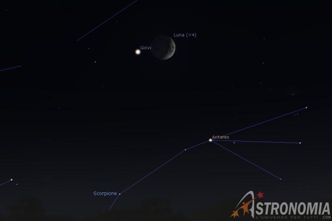 Congiunzione Luna - Giove, giorno 3 ore 20