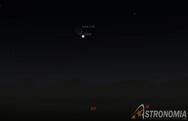 Congiunzione Luna - Giove, giorno 31 ore 18