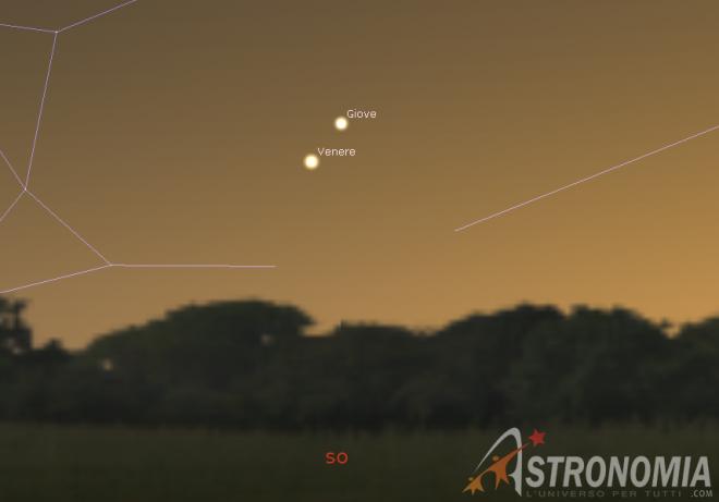 Congiunzione Giove - Venere - Mercurio, giorno 24 ore 17