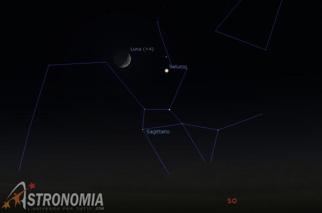 Congiunzione Luna - Saturno, giorno 2 ore 19