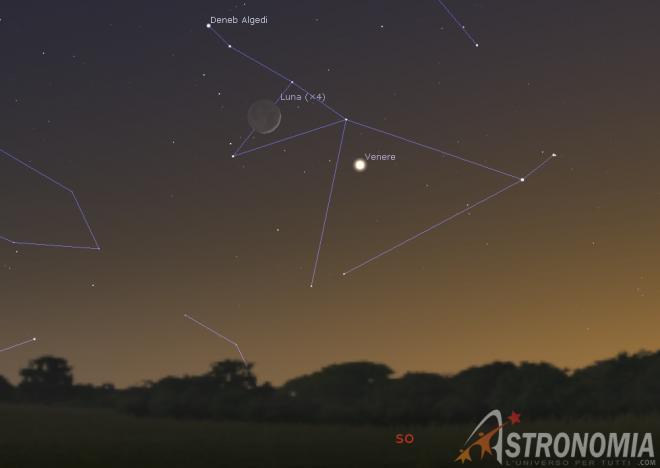Congiunzione Luna - Venere, giorno 29 ore 17:30